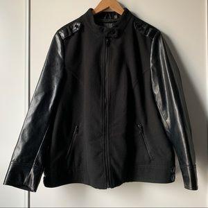 Reitmans black zip up Moto jacket faux leather